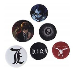 Death Note Button Badges, Set Of 6 Pins, New & Sealed