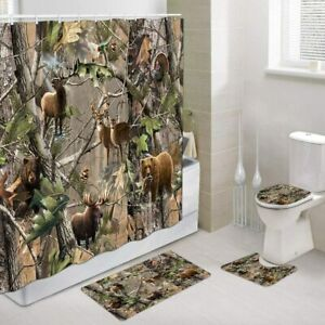 Wildlife Animal Hunting Deer Bear Elk Turkey Camo Hunting Shower Curtain Set