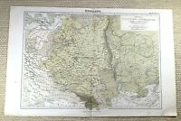 1874 Ancien Carte De Russie The Russe Empire Territoire Allemand 19th Siècle