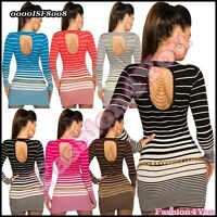 Sexy Womens Jumper Ladies Pullover Casual Striped Sweater One Size 8,10,12,14 UK