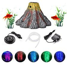 Aquarium Volcano LED Spotlight with Air Stone Bubble Fish Tank Decor Ornament