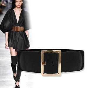 Fashion Genuine Leather Elastic Stretch Wide Waist Belt Pin Buckle Waistband