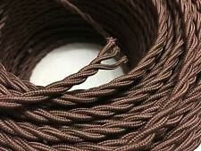 3 CORE BROWN ANTIQUE BRAIDED WOVEN SILK / FABRIC LAMP CABLE / WIRE / CORD LIGHT