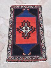 Red Blue Rug, Small Rug, Woolen Rug, Vintage Small Rug, 50x85cm/1'7x2'9