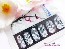 Nail Self Adhesive Full Nail Polish Wrap Sticker White Rhinestone Lace Decal L6