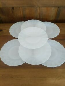 "7 Vintage Milk Glass Opaque White 6 1/2"" Side Bread Plates Collectible"