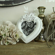 small white resin rose bow heart carved photograph picture frame 3.5 x 3.5 gift