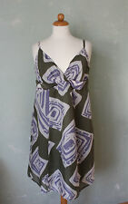 Esprit Kleid Sommer khaki grün lila beige hochwertig Trägerkleid Gr. 44 XXL