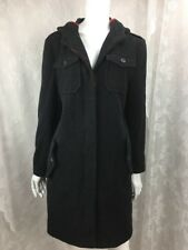 Rampage womens trench coat wool blend hooded charcoal gray red detail size L