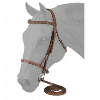 Light Chestnut Raised Snaffle English Bridle with Crystals Horse Tack