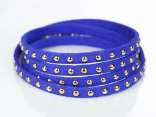 Royal Blue Pulsera de Cuero con Remaches y cadena extensible