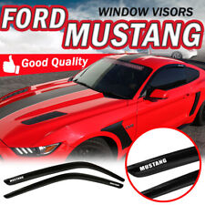 Fits 15-17 Ford Mustang Tape On Window Visors Vent Guards Shield Smoke Acrylic
