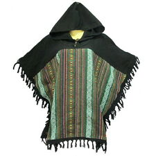 Peasant Boho Hand Woven Cotton Hooded Maxican Poncho/Sweater with Fringe YX824C