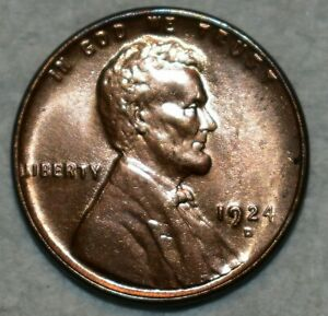 Brilliant Uncirculated 1924-D Lincoln Cent, Blazing, Red specimen.