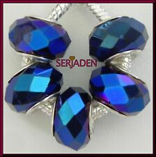 5 Royal Blue Faceted Beads fits European Style Jewelry 9 * 14 with 5mm Hole B025
