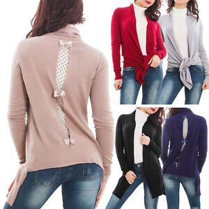 Cardigan donna coprispalle aperture velate maglione caldo pullover nuovo 267L