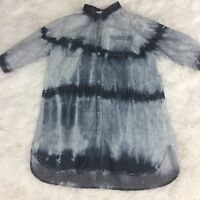 Hot & Delicious Blue Tie Dye Button Down Shirt Women's Size Small 3/4 Sleeve #T9