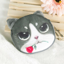 Children Lovely Cat Face Zipper Case Coin Kids Purse Wallet Makeup Bag