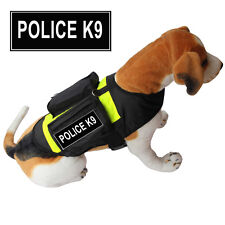 POLICE TRAINING SERVICE DOG Vest Harness w/ POCKETS Side Bags 2 label Patches