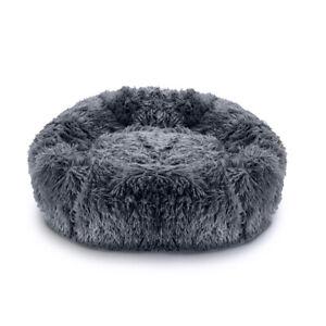 Pawamore Dark Grey 60cm Medium Soft Pet Calming Donut Cushion Warm Nest Dog Bed
