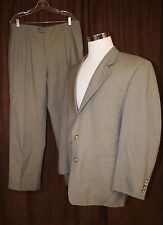 Gieves Hawkes Wool Suit Gray Houndstooth 42R Pleated Pants 34x29 Barneys 2 BTN