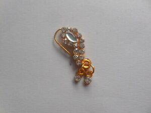 Crystal Nath Nose Ring Indian Stud Non Piercing Wedding Nostril Ring Decorated