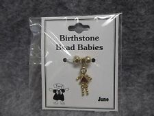 June Baby Birthstone Bead Babies Necklace Pendant Gold Tone Triangle Body