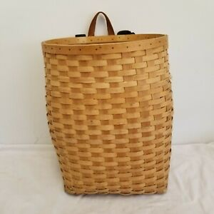 Large Hunters, Anglers Woven Slat Pack Basket, Web Straps, Campers, Ice Fishing
