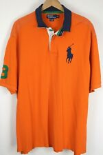 Polo Ralph Lauren Mens 2XLT Orange Rugby Short Sleeve Mesh Shirt Big Blue Pony