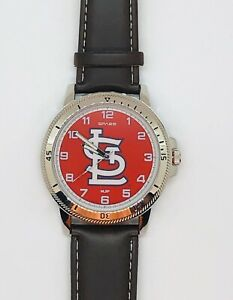 ST. LOUIS CARDINALS CLASSIC MEN'S SPORT WATCH LEATHER BAND OFFICIALLY LICENSED