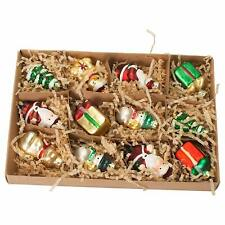Mini Holiday Icon Multicolored Glass Christmas Ornaments Boxed Set of 12 #152645