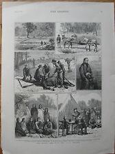 1878 Large Antique Print - Battle of Slim Buttes - Red Cloud & Sioux Indians