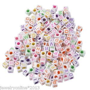 1000-10000 Mix Acryl Würfel Buchstaben Spacer Perlen Beads Basteln 6x6mm Deko JO
