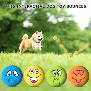6PCS Dog Puppy Play Squeaky Rubber Ball With Face Fetch Toy
