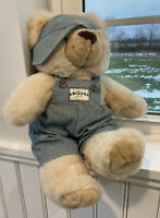 "Authentic Arizona Denim Dressed Teddy Bear 90'S Ball Cap Jean Overalls 16"" Bibs"