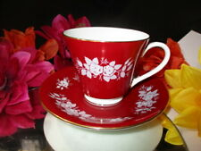 CUP SAUCER AYNSLEY ENAMEL WHITE ROSES RED WINE SOLID FIELD HIGH MIRROR SHEEN
