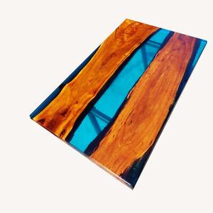 Blue Transparent Wooden Acacia Epoxy Dining Table Top Garden Decor Made To Order