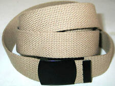 "Canvas BEIGE 45"" x 1 1/2"" Military Style WEB Fabric Belt BLACK Metal Buckle"