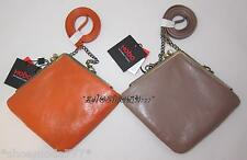 Hobo International Leather MARABEL Clutch Handbag Mini Bag Purse Orange Taupe