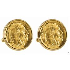 NEW Gold-Layered 1913 First-Year-of-Issue Buffalo Nickel Bezel Coin Cuff Links