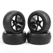 4Pcs RC Front & Rear Off-Road Rubber Tires &Wheel Rim For 1:10 Buggy Car HSP HPI