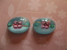Glass Cameos - 18X13mm Oval Cabochons Pink Flower on Blue Handmade Lampwork 2pcs