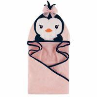 Hudson Baby Girl Animal Face Hooded Towel, Girly Penguin
