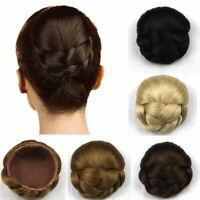 Women Twist Braided Bun Hairpiece Updo Cover Clip in Chignon Hair Extensions