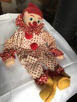 "Vintage 80s Shelf Sitter Cloth Clown 21"" Polka Dot   B-366"