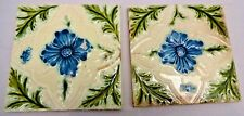 TILE PORCELAIN MAJOLICA ART NOUVEAU PURPLE FLOWER VINTAGE ENGLAND COLLETIBL # 54