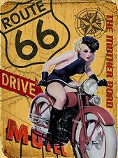 Route 66, Vintage Pin-up Girl Bike, USA Ride Road Gift, Novelty Fridge Magnet