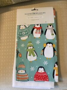 NEW TEA TOWELS PENGUIN & PLAIN WHITE BY ULSTER WEAVERS X 2 CHRISTMAS COTTON NEW