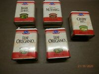 LOT of 5 KROGER METAL SPICE/HERB CANS