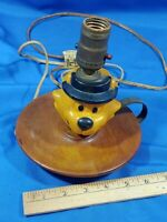 Antique-VTG Celluloid Toy Figural Cartoon Bear Cat Fedora Hat Lamp Wood Cast